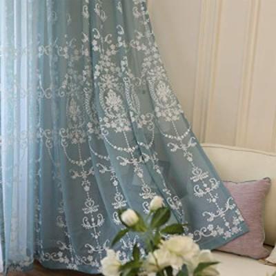 姫系レースカーテン おしゃれ カーテン レース カーテン 北欧 カーテン かわいい 刺繍 目隠し効果 通気性が良く 幅100cm×丈178cm 2枚組