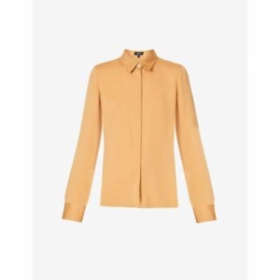 セオリー THEORY レディース ブラウス・シャツ トップス Slim-fit stretch-silk shirt BRONZE