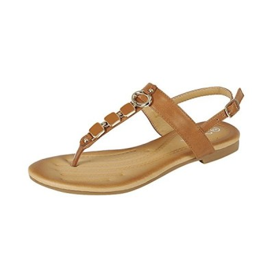 フォーエバー リンク レディース Embellished ビーズ メタリック チェーン ドレス Thong Sandal (7 B(M(海外取寄せ品)