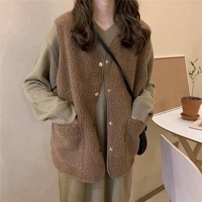 ボアベスト ボアアウター レディース 秋冬用 コート ショート丈 もこもこ 無地 暖かい アウター  送料無料