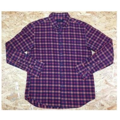 RAGEBLUE レイジブルー Mサイズ メンズ シャツ 長袖 チェック柄 胸ポケット B.D. ボタンダウン 起毛生地 レッド×ネイビー×オレンジ