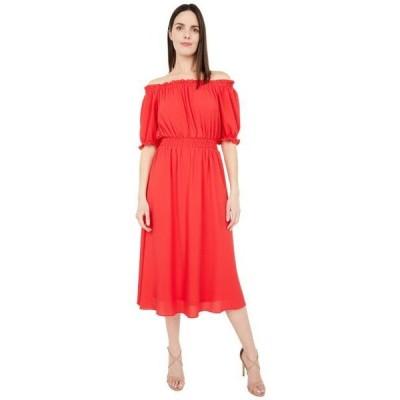 ロンドンタイムス ユニセックス スカート ドレス Catalina Crepe Off-the-Shoulder Puff Sleeve Midi Dress
