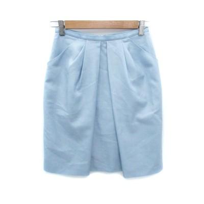 【中古】インディヴィ INDIVI スカート タイト ひざ丈 36 水色 ライトブルー /FF25 レディース 【ベクトル 古着】
