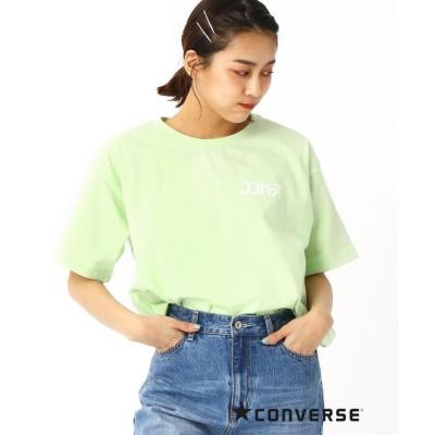 (179/WG/イチナナキュウダブルジー)CONVERSEカタカナロゴTシャツ/レディース 40グリーン