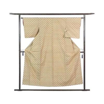 リサイクル着物 紬 正絹ベージュ地袷真綿紬着物
