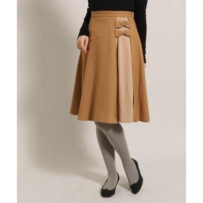 スカート 【SSサイズあり】ウーリッシュツイルリボンフレアスカート