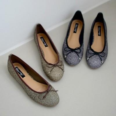 パンプス バレエシューズ りぼん リボン ラウンドトゥ フラット レディース ぺたんこ ペタンコ 金 銀 ゴールド シルバー 靴 婦人靴 歩きやすい 韓国
