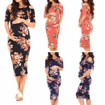 女性妊娠中のスタイリッシュなオフショルダードレス花印刷ラウンドカラービーチ着用