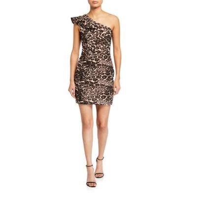 パーカー ブラック レディース ワンピース トップス Jojo Leopard-Print One-Shoulder Mini Dress