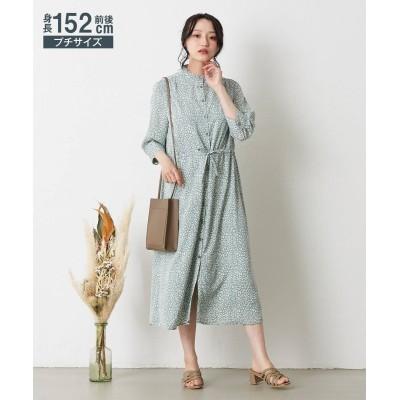 小さいサイズ 2WAYスタンドフリル7分袖ワンピース 【小さいサイズ・小柄・プチ】ワンピース, Dress