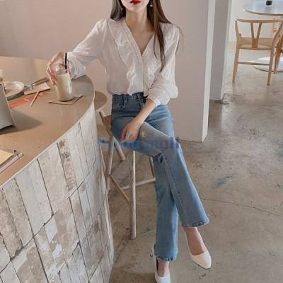 レディースブラウスシャツファッショントップス上品大人女性春秋ゆったり着痩せシャツ大きいサイズ20代30代40代秋コーデ
