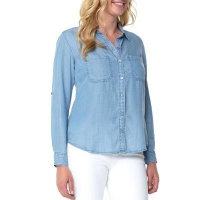リバプールジーンズ レディース シャツ トップス Rolled Sleeve Button Down Shirt Malibu Light
