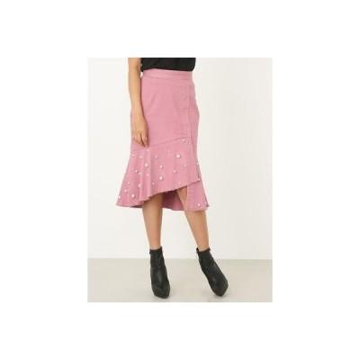 rienda FパールヘムフレアJ/Wスカート ピンク
