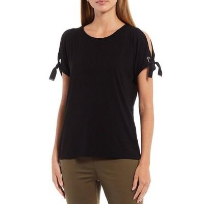 カルバンクライン レディース Tシャツ トップス Solid Knit Boat Neck Cold-Shoulder Sleeve Detail Top