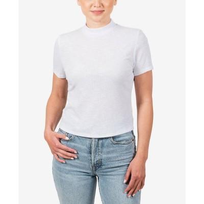 ヒッピー ローズ Hippie Rose レディース Tシャツ トップス Juniors' Mock Neck T-Shirt White