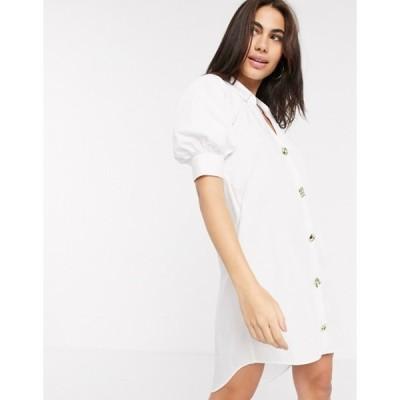 リバーアイランド レディース ワンピース トップス River Island poplin shirt dress in white