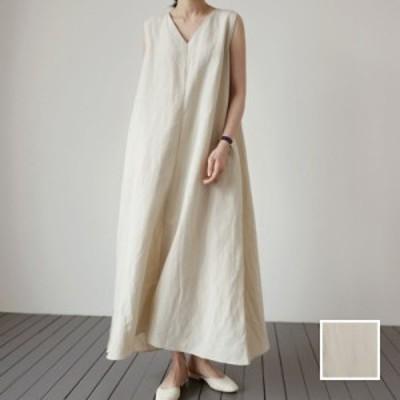 韓国 ファッション レディース ワンピース 夏 春 カジュアル naloI753  ナチュラルテイスト リネン マキシ ゆったり シンプル コーデ 定
