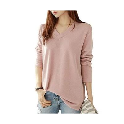 [ジルア] ロング tシャツ カットソー シャツ レディース トップス Vネック ニット セーター 風 長袖 長そで カジュアル 無地 薄手 厚手ロン