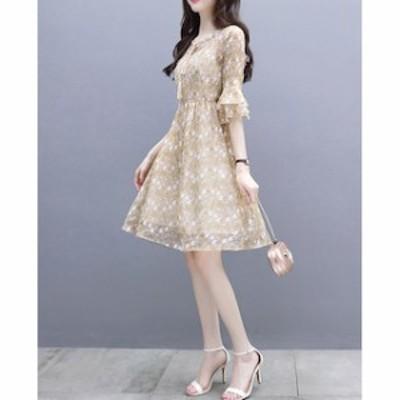 パーティドレス 二次会 結婚式 ドレス お呼ばれ ワンピース 20代 30代 袖あり 大きいサイズ ワンピース結婚式 【T002-HALN0605】