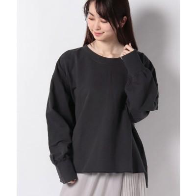 Samansa Mos2 【SM2】【春カタログ】ミニ裏毛ピグメントTシャツ(チャコールグレー)【返品不可商品】