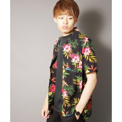 シャツ ブラウス 【LRG】総柄 半袖アロハシャツ