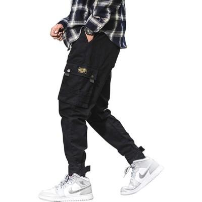 カーゴパンツ メンズ ジョガーパンツ カジュアル ワイド 作業着 ワークパンツ 多機能 ミリタリー ズボン ロングパンツ ゆったり 無地 綿