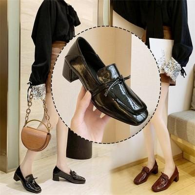 レディース  ローファー モカシン 皮靴 パンプス 太めヒール エナメル スクール 通勤 カジュアル 女子靴