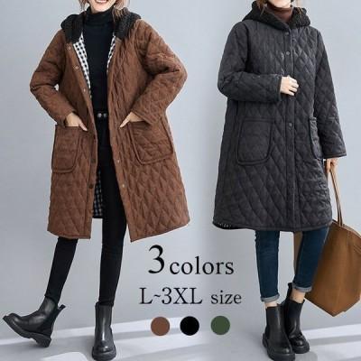 レディース中綿コートフード付き秋冬アウターダウンジャケット40代ロングコート中綿防寒大きいサイズ50代30代おしゃれ暖かい