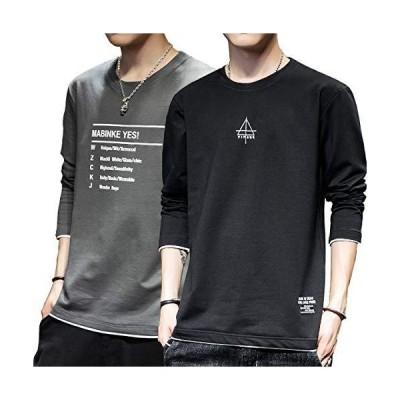 Tシャツ メンズ 長袖 2枚セット 肌着 丸襟 カットソー 大きいサイズ 無地