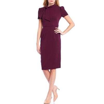 マギーロンドン レディース ワンピース トップス Petite Size Tie Neck Puff Sleeve Stretch Crepe Sheath Dress Wine