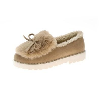 スニーカー防寒レディースレディースルームシューズ裏ボア防寒シューズ厚底女性用靴ぺったんこパンプスフェイクファー裏起毛冬物