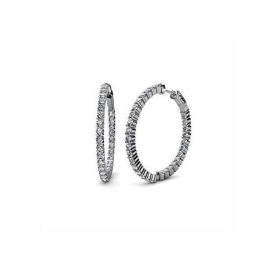 TriJewels Round Lab Grown Diamond (VS2-SI1, F-G) Womens Inside-Out Hoop Earrings 2.00 ctw 14K White Gold【並行輸入品】