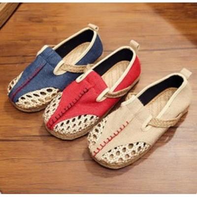 2021新作ローヒールエスニックチャイナシューズ痛くないカジュアル通気性抜群チャイナメイドコスプレ靴刺繍柄婦人靴スニーカーリネンスリ