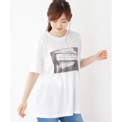 【オペークドットクリップ】 フォトプリントコットンTシャツ レディース ホワイト 99 OPAQUE.CLIP