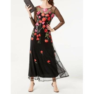 Maxi  ファッション ドレス INC NEW Black Womens Size PP Petite Floral Embroidered Maxi Dress