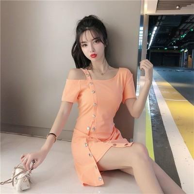 👩女性美up👆 初秋 カジュアル エレガント セクシー オフショルダー メタルバックル デコレーション スプリット ミディアムロング ワンビース イレギュラー ファッション