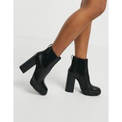スティーブ マデン レディース ブーツ・レインブーツ シューズ Steve Madden Revised heeled ankle boot in black leather Black leather