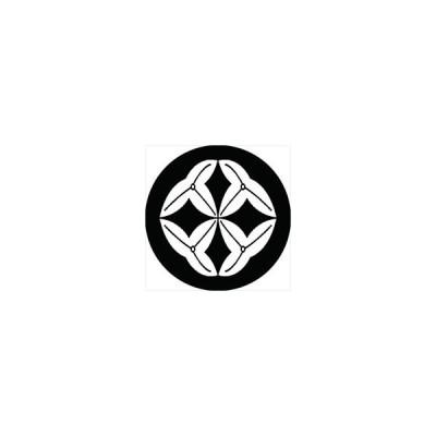 家紋シール 七宝沢瀉紋 直径4cm 丸型 白紋 4枚セット KS44M-1812W