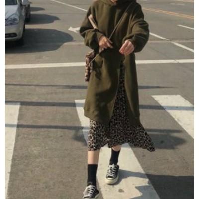 2色 ワンピース ロング スウェット パーカー レオパード 重ね着 スリット ゆったり カジュアル 韓国 オルチャン ファッション