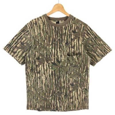 【古着】 RATTLER BRAND カモフラ柄Tシャツ ポケットTシャツ リアルツリーカモ ブラウン系 メンズM 【中古】 n028722