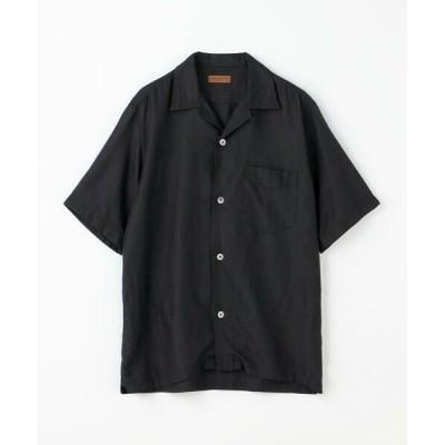TOMORROWLAND/トゥモローランド コットンシルク オープンカラーショートスリーブシャツ BROWN 19 ブラック XS