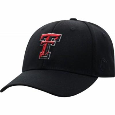 トップオブザワールド Top of the World メンズ キャップ 帽子 Texas Tech Red Raiders Premium 1Fit Flex Black Hat