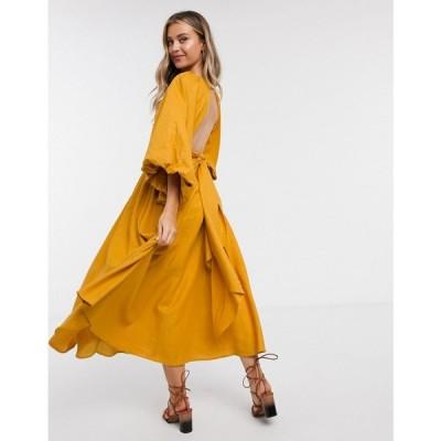 エイソス ASOS EDITION レディース ワンピース ミドル丈 ワンピース・ドレス extreme sleeve linen midi dress in mustard マスタード