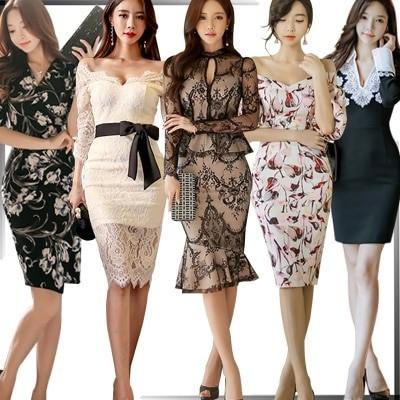高品質韓国ファッションOL正式な場合礼装ドレスセクシーなワンピース一字肩二点セット側開深いVネックやせて見えるハイウエスト