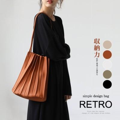 韓国ファッション 流行 無地 収納力抜群 プリーツバッグ レディース 可愛い 雑貨 オシャレ トートバッグ
