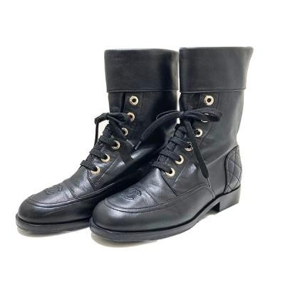 シャネル CHANEL ココマークショートブーツ 18A G33986 サイズ:35 1/2 ブラック ブーツ レディース 中古