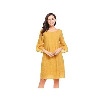 Zeagoo889 Womens Casual 3/4 Lotus Leaf Sleeve Chiffon Printed Dress Yellow
