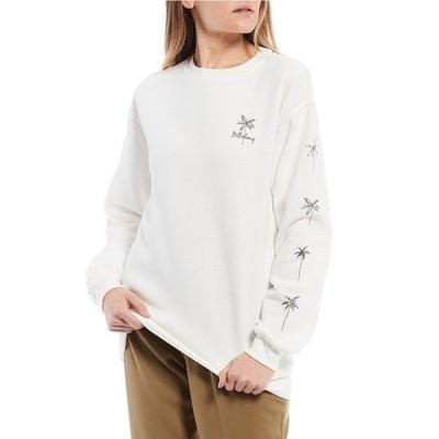 ビラボン レディース パーカー・スウェット アウター Long-Sleeve Palm Sketch Graphic Round Neck Sweatshirt