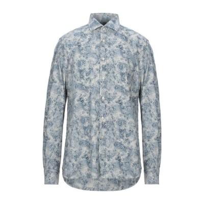 XACUS 柄入りシャツ ファッション  メンズファッション  トップス  シャツ、カジュアルシャツ  長袖 ブルー
