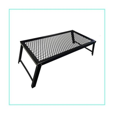 XTSKLY Folding Campfire Grill, Portable and Heavy Duty Camp Grill Grate, Large Over Fire Camping Grill with Legs for Outside Picnic BBQ, Bla